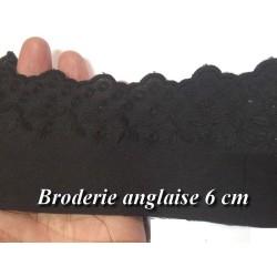 Broderie Anglaise Coton au Mètre en 6 cm Noir A Coudre.