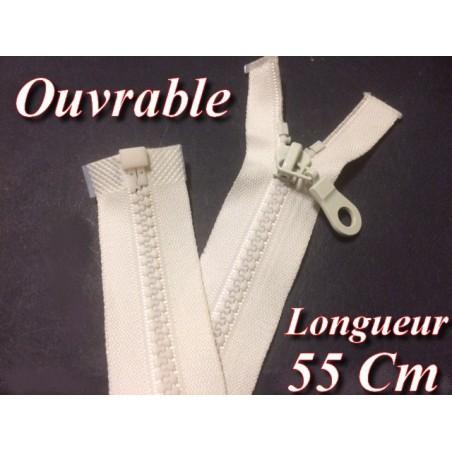 Zip Fermeture Eclair A Glissière En Maille Plastique Injecté A Coudre en 55 cm Ecru Séparable.