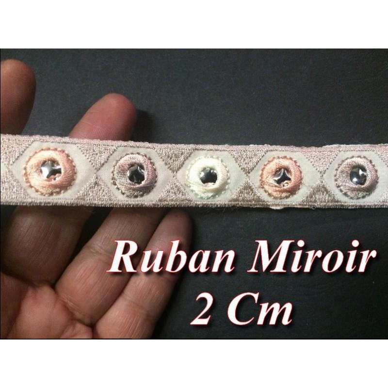 Ruban Galon Miroir En 2 Cm Taupe Et Saumon Pour Décorations.