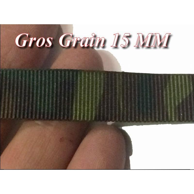 Ruban Gros Grain 15 mm Au mètre kaki Façon Miltitaire A Coudre Pour Loisirs Créatifs Et Décorations.
