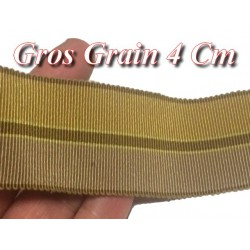 Ruban Gros Grain En 4 cm Beige Moutarde A Coudre Pour Loisirs Créatifs Et Décorations.