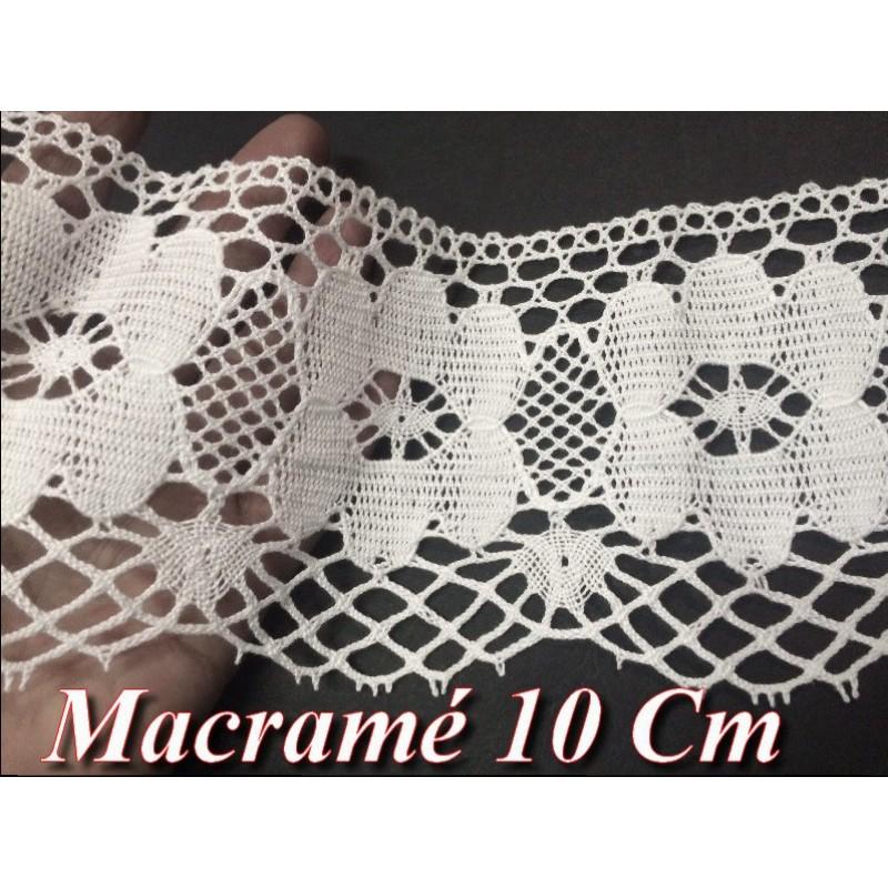 Dentelle Au Crochet Macramé Au Mètre En 10 Cm Blanc