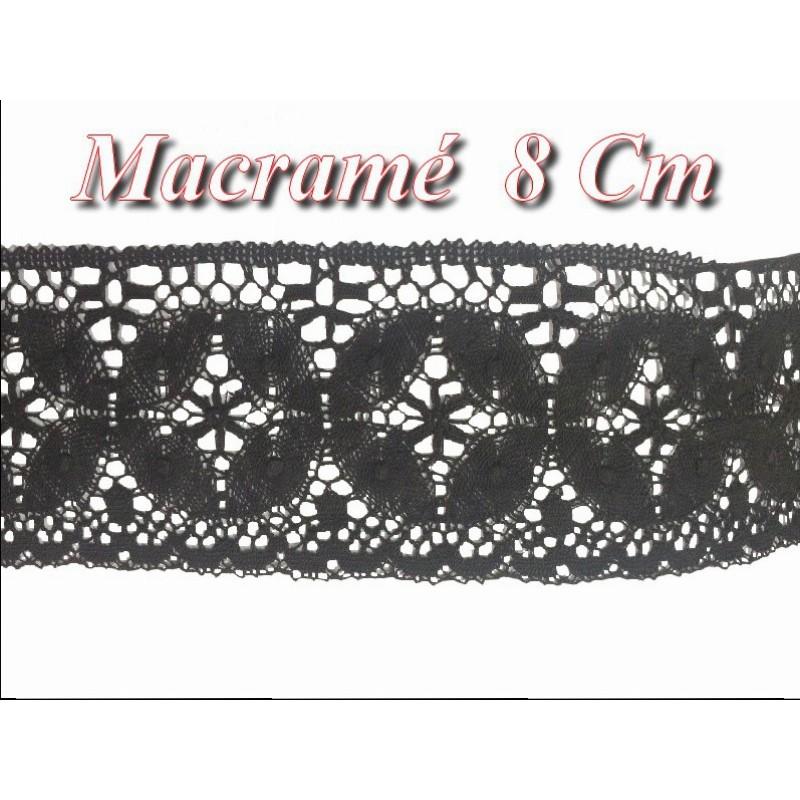 Galon Dentelle Macramé En 8 Cm Noir pour Loisirs Créatifs, Décorations.
