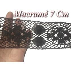 Galon Dentelle Macramé En 7 Cm Noir pour Loisirs Créatifs, Décorations.