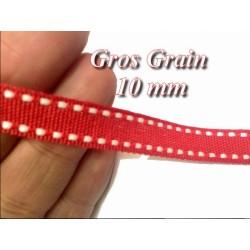 Ruban Gros Grain Rouge En 10 mm En Point Sellier Blanc sur fond Rouge Au mètre A Coudre Pour Loisirs Créatifs Et Décorations.