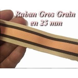 Ruban Gros Grain En 25m mm Beige et Saumon A Coudre Pour Loisirs Créatifs Et Décorations.