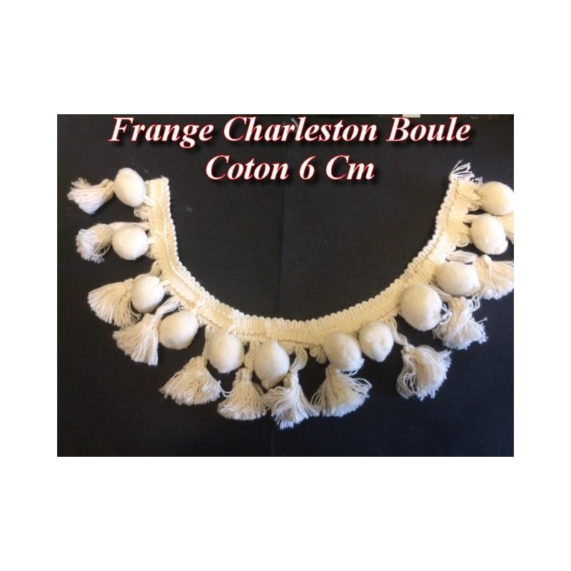 Frange Charleston En 6 Cm Ecru Au Mètre En Pompons Boules Coton Pour Loisirs Créatifs.