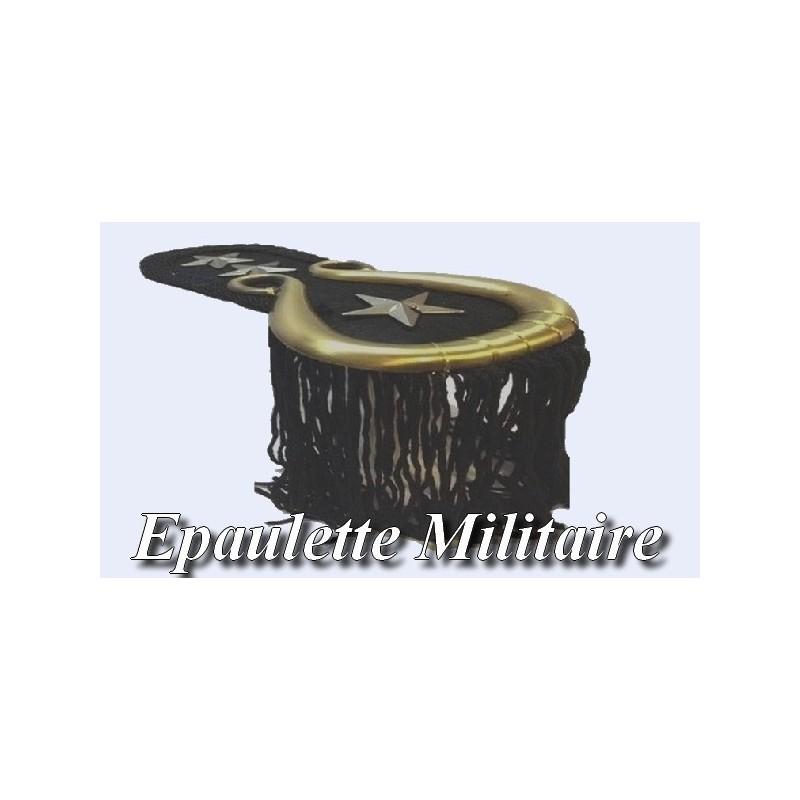 Ecusson Patch Epaulette Militaire Noir.