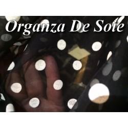 Tissu Organza en Soie Créme Au Mètre En Imprimé , Motifs Petit Pois Sur Fond Noir.