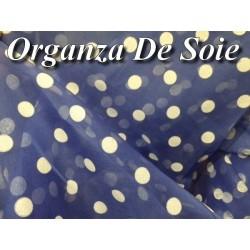 Tissu organza de soie au mètre en couleur indigo imprimé pois créme