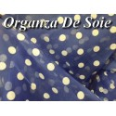 Tissu Organza De Soie Bleu Indigo Au Mètre En Imprimé Pois Créme.