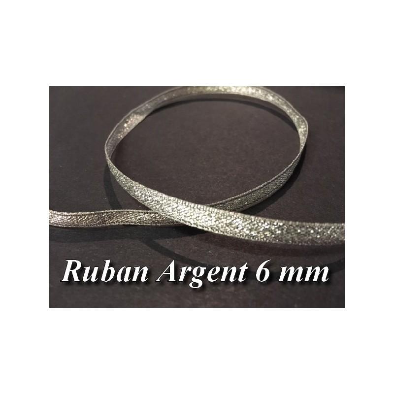 Ruban Lurex En 6 MM Argent A Coudre Pour Loisirs Créatifs Et Décorations.