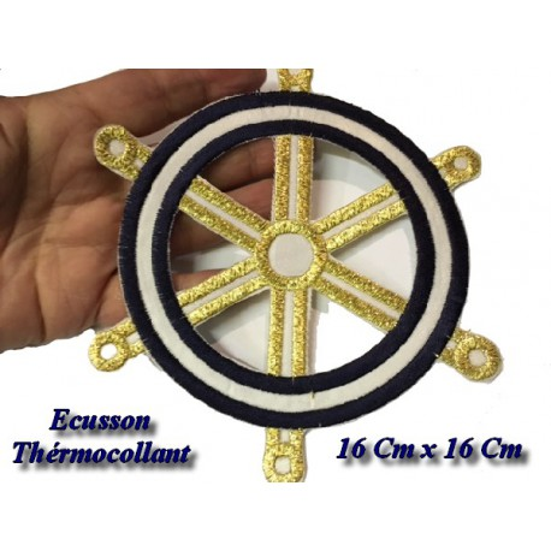 Ecusson Patch Gouvernail Thermocollant Marine Et Doré Pour Décorations Et Customisations.
