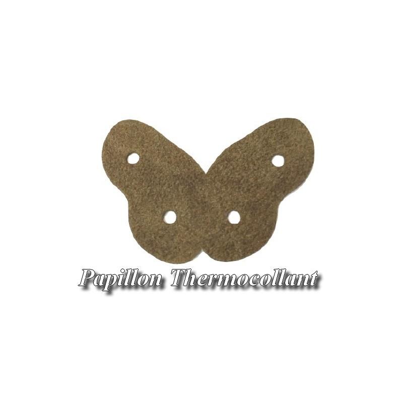 Ecusson Patch En Forme De Papillon Marron Thermocollant Pour Décorations Et Customisations.