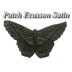 Patch Papillon Satin Noir A Coudre pour Décorations Et Customisatiions.