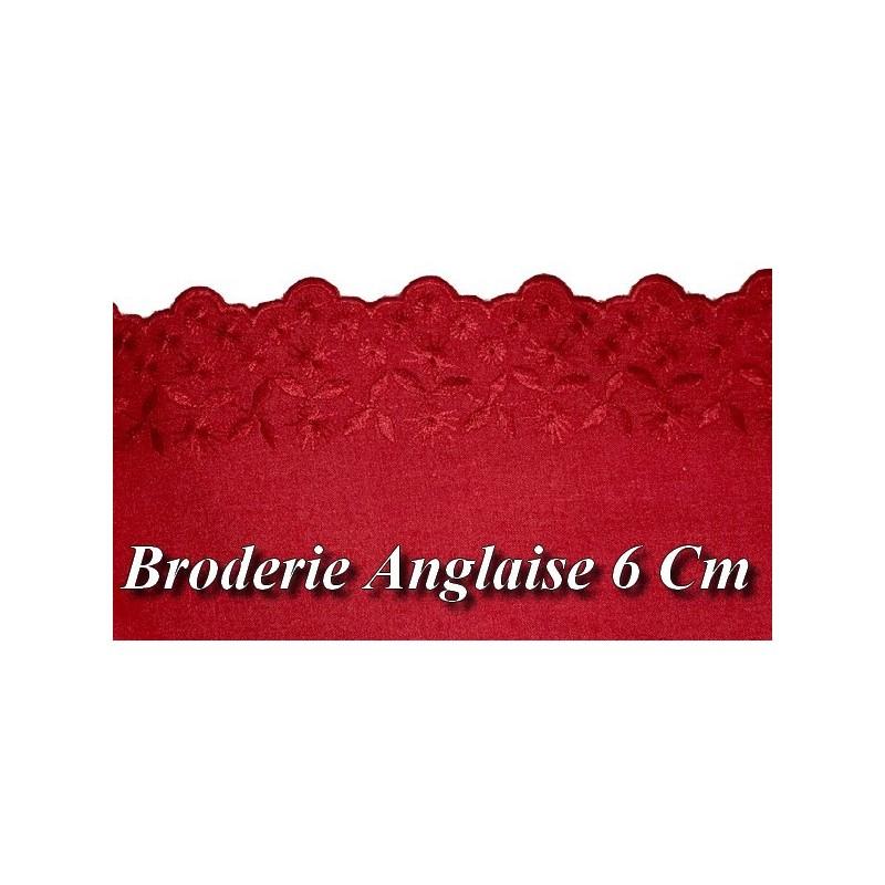 Broderie Anglaise Coton au Mètre en 6 cm Rouge A Coudre.
