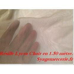Tissu Résille Lycra Au Mètre en Couleur Chair Pour Justaucorps.