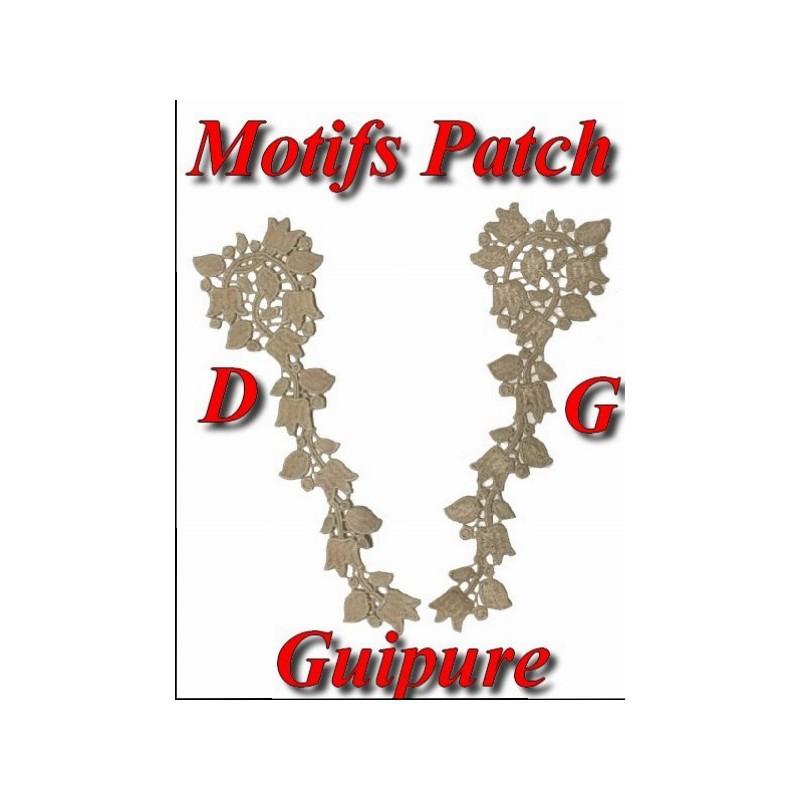 Motif Patch En Guipure Dentelle Fleurs Brodé En Blanc A Coudre Customisations.