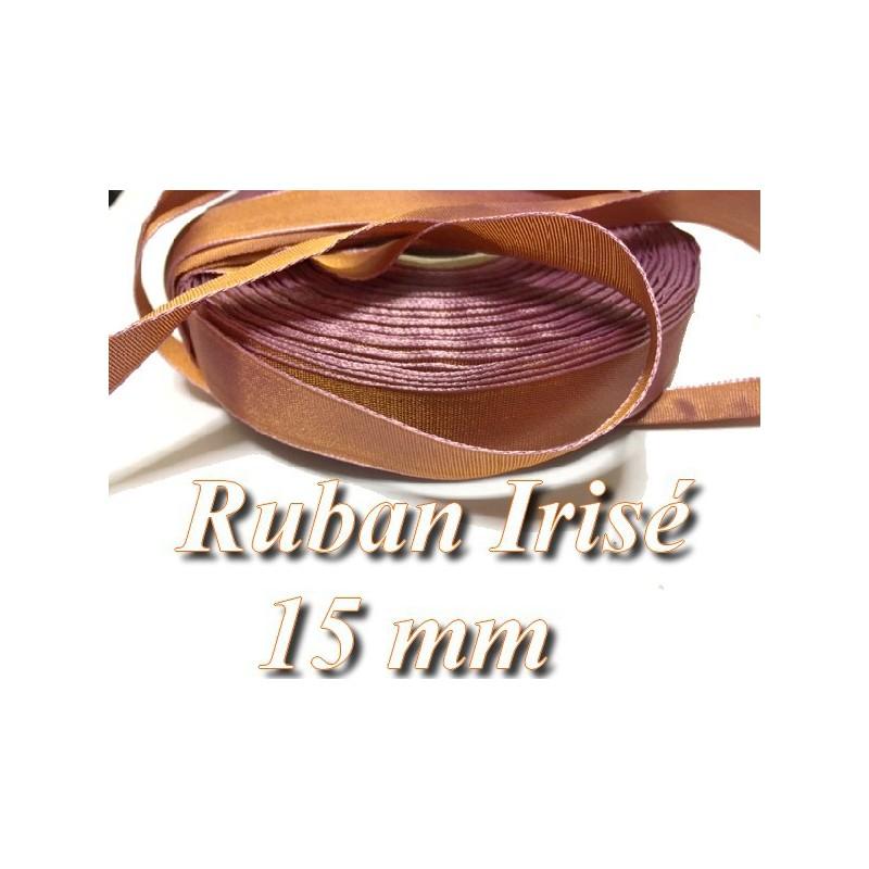 Ruban Satin 15 mm En Orange avec Reflet Irisé Violet A Coudre,Pour Décorations Et Loisirs Créatifs.