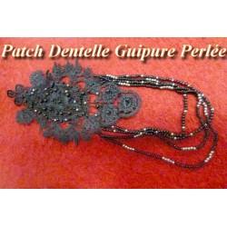 Motif Patch En Guipure Perlée Noir Avec chainette Customisations.