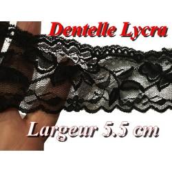 Dentelle Lycra Au Mètre En 5,5 Cm Noir , Pour Lingerie Et Customisations.