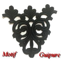 Motif Patch en dentelle brodé Guipure noir