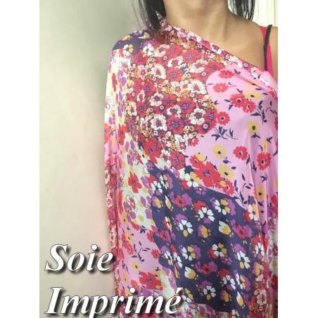 Tissu Mousseline de Soie Imprimé Floral Haute Couture Multicolor Au Mètre.