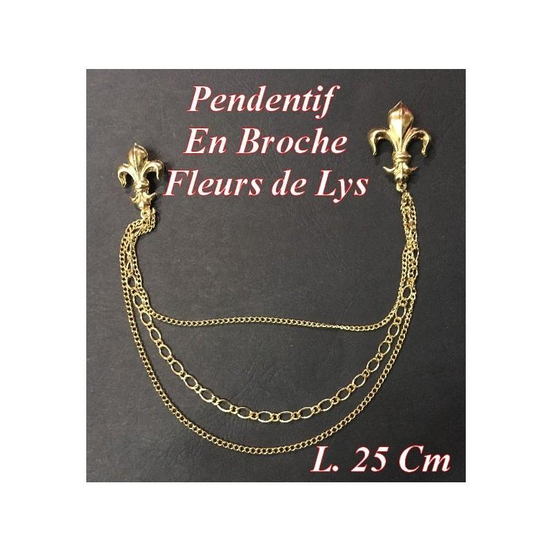Chainette Pendentif, En Double Fleurs de Lys Doré