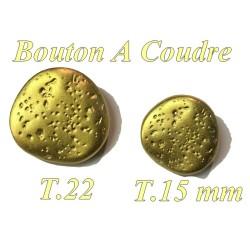 Bouton Doré En Taille 15 mm Et 22 mm A queue, Martelé A Coudre.