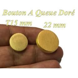 Bouton Doré En Taille 15 mm Et 22 mm A queue, A Coudre.