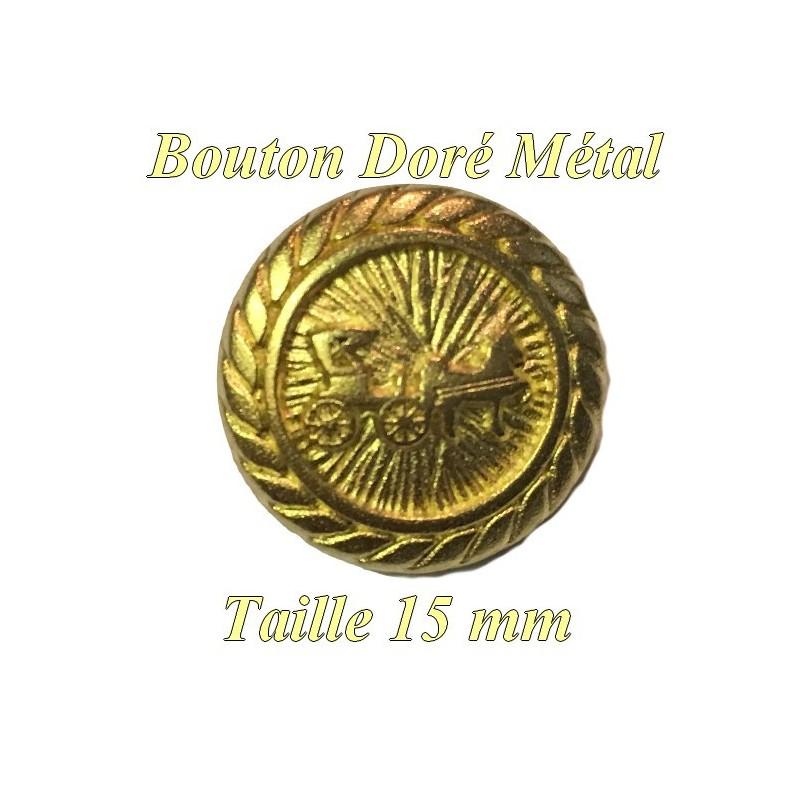 Bouton Doré En Taille 15 mm Métal A queue, Motif Calèche A Coudre.