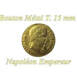 Bouton Doré A Coudre Motif Napoleon Empereur En Taille 15 mm Métal A queue.