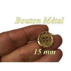 Bouton Doré En Taille 15 mm Métal A queue, A Coudre.