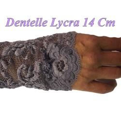 Dentelle Lycra au mètre en 14 cm de couleur noire
