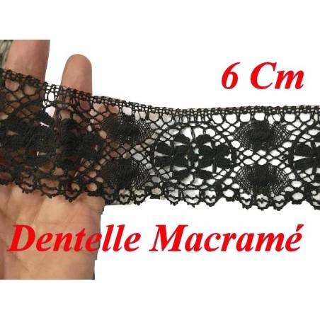 Galon Dentelle Macramé En 6 Cm Noir