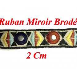 Ruban Galon Miroir En 2 Cm Marine Et Brique et Jaune Sur Fond Ecru Pour Décorations.