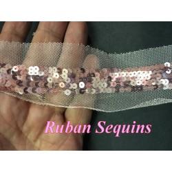Ruban Sequins Sur Tulle Rose En 4 cm Pour Décorations et Customisations.