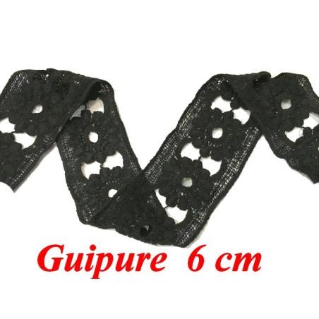 Galon Dentelle Guipure Au Mètre En 6 Cm Noir, En Motifs Ajouré Fleurs Pour Customisations Et Décorations.