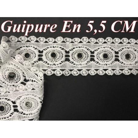Guipure Dentelle Oeuillet Argent en 5.5 cm Blanche Au Mètre , A Coudre Pour Loisirs Créatifs, Customisations.