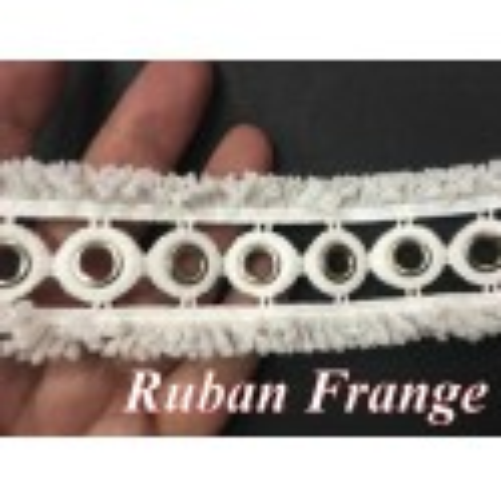 Galon Ruban A Oeuillet Argent  en 4.5 cm Blanche Au Mètre , A Coudre Pour Loisirs Créatifs, Customisations.