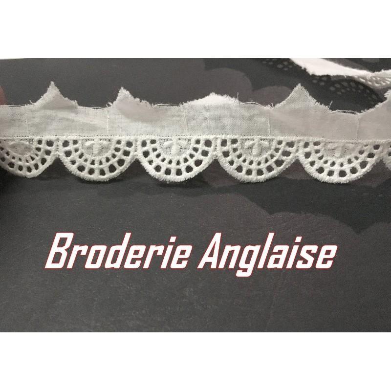 Broderie Anglaise En 2,5 Cm Au Mètre ivoire Festonné En Demi-Cercle A Coudre Pour Loisirs Créatifs.