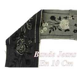 Ruban Bande De tissu Jeans Au Mètre brodé Double Face En 10 Cm Marine Et Gris