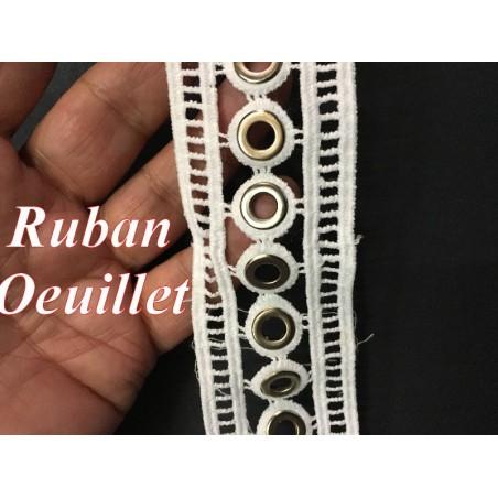Guipure Dentelle Oeuillet Doré Or En 4.5 Cm Blanche Au Mètre , A Coudre Pour Loisirs Créatifs, Customisations.
