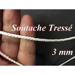 Galon Soutache Tréssé en 3 mm Au Mètre Blanche en Passementrie couture.