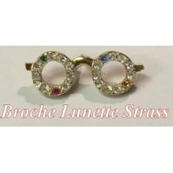 Broche Lunette En doré Strass avec un clips Pour Loisirs Créatifs Et Décorations