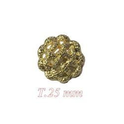 Bouton doré Torsadé à coudre en taille 25 mm Pour customisations.