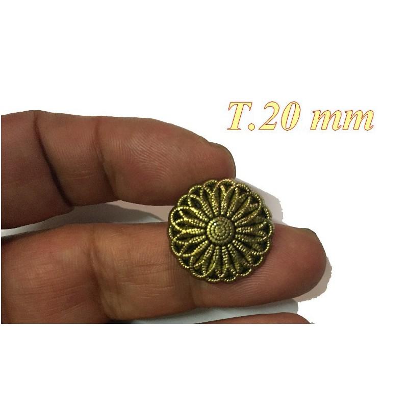 Bouton Viel Or En Forme de Fleur Fantaisie A Coudre En Taille 20 mm Pour customisations.