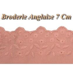 Broderie Anglaise Coton en 7 cm Au Mètre Saumon.