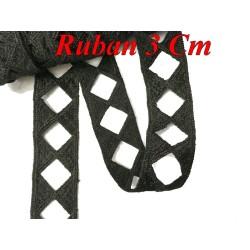 Galon Ruban En 3 Cm Noir Ajouré En forme de Losange Pour Décorations et Customisations.