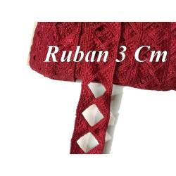 Galon Ruban En 3 Cm Rouge Ajouré En forme de Losange Pour Décorations et Customisations.